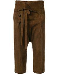 Saint Laurent Dropped Crotch Shorts - Brown