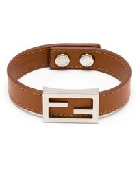 Fendi Baguette Logo Leather Bracelet - Brown