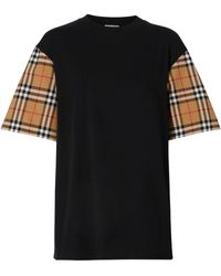 Burberry - Checked Sleeves Cotton T-shirt - Lyst
