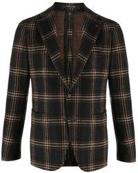 Tagliatore Checked Single Breasted Blazer - Black