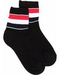 Thom Browne Rwb-stripe Ankle Socks - Black