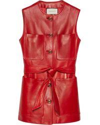 Gucci Plongé Leather Long Vest - Red