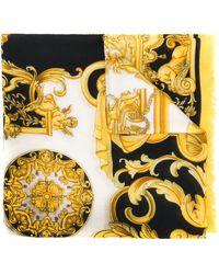 Versace Barocco-print Fringed Scarf - Black