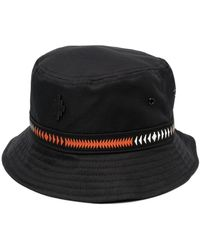 Marcelo Burlon Cross Tape Embroidered Bucket Hat - Black