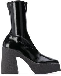 Stella McCartney Square-toe Platform Boots - Black