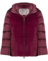 Herno Faux-fur Panel Puffer Jacket - Purple