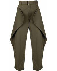 JW Anderson Geometric Draped Trousers - Green