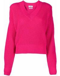 Essentiel Antwerp Ribbed-knit V-neck Jumper - Pink