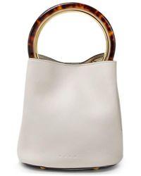 Marni Pannier Leather Bucket Bag - White