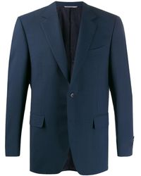 Canali Fitted Fine Knit Blazer - Blue