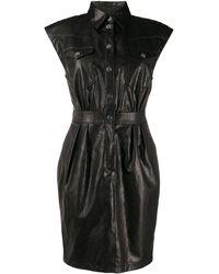 Pinko Leather Shirt Dress - Black