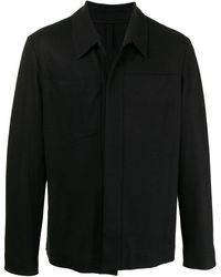 Harris Wharf London Virgin Wool-knit Shirt Jacket - Black
