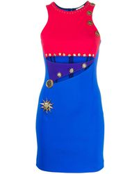 Fausto Puglisi Colour Block Cut-out Detail Dress - Blue