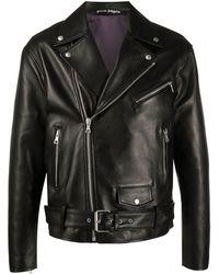Palm Angels Logo Print Zipped Leather Jacket - Black