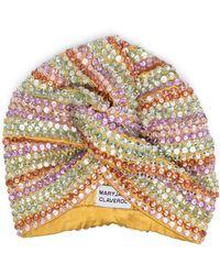 MaryJane Claverol Crystal Embellished Stripe Turban - Yellow