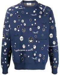 Acne Studios Smiley Face Logo-printed Sweatshirt - Blue