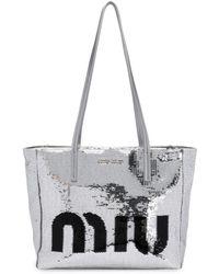 Miu Miu Logo Sequin Tote Bag - Metallic