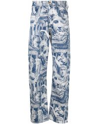 Aries X Lee Rider Jacquard-woven Jeans - Blue