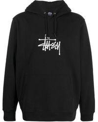 Stussy Logo Drawstring Hoodie - Black