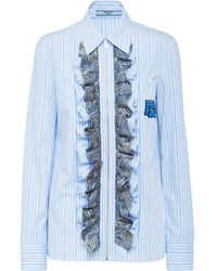 Prada Striped Ruffled Shirt - Blue