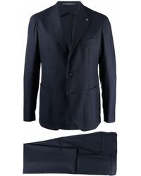 Tagliatore Fitted Single-breasted Suit - Blue