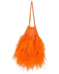 The Attico Greta Feather Embellished Clutch - Orange