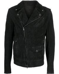 Salvatore Santoro Faded Leather Jacket - Black