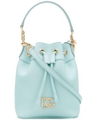 Dolce & Gabbana Logo Plaque Bucket Bag - Blue