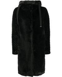 Herno Hooded Faux-fur Coat - Black