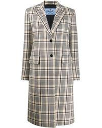 Prada Check Print Single-breasted Coat - Blue