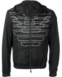 Emporio Armani Monogram Print Bomber Jacket - Black