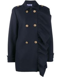 RED Valentino Ruffled Trim Double-breasted Coat - Blue