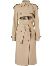 Burberry Deconstructed Cotton-shearling Trench Coat - Natural