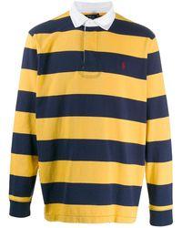Ralph Lauren Stripe Print Polo Shirt - Blue