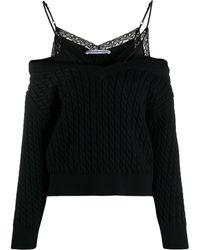T By Alexander Wang Cold-shoulder Knit Jumper - Black
