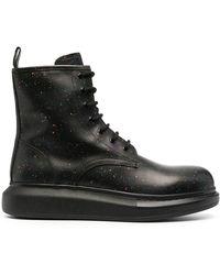 Alexander McQueen Hybrid Paint-splatter Lace-up Boots - Black