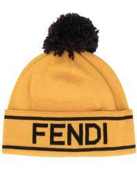 Fendi Logo Motif Pom-pom Beanie - Yellow