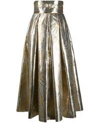 Sara Battaglia Metallic Leaf Print High-waisted Skirt