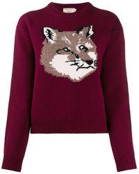 Maison Kitsuné Embroidered Fox Jumper - Purple