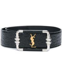 Saint Laurent Croc-embossed Leather Belt - Black