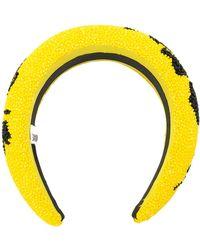 Ganni Abstract Pattern Beaded Hairband - Yellow
