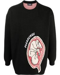 Pleasures Utero Jacquard Rib-trimmed Sweater - Black