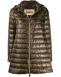 Herno Hooded A-line Down Coat - Green