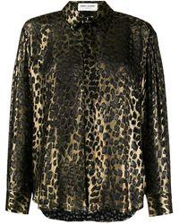 Saint Laurent - Gold Silk Animalier Print Shirt - Lyst