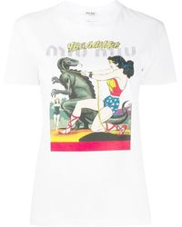 Miu Miu Graphic-print Short-sleeve T-shirt - White