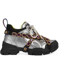 Gucci Flashtrek Crystal-embellished Metallic Sneakers