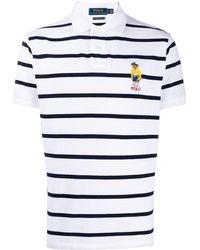Polo Ralph Lauren Bear-appliqué Striped Polo Shirt - White
