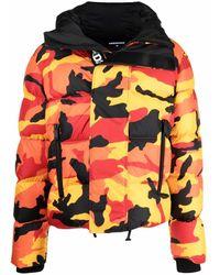 DSquared² Camouflage-print Puffer Coat - Orange