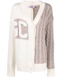Gcds Asymmetric Knit Cardigan - Natural