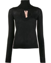 N°21 Cut-out Turtleneck Sweater - Black